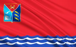 Флаг области Магадана, Российской Федерации стоковая фотография rf