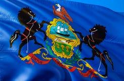 Флаг Пенсильвании E Национальный символ США государства Пенсильвании, перевода 3D красит соотечественник стоковая фотография