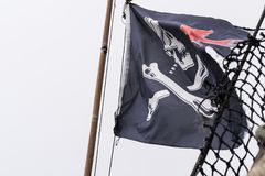 Флаг пирата на корабле Стоковая Фотография RF