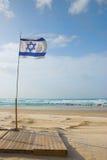 флаг пляжа Израиль стоковые фотографии rf