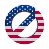 Флаг покрашенный знаком США запрета иллюстрация вектора