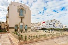 Флаг положения в мечети Хасане башни II в Касабланке Стоковая Фотография