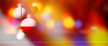 Флаг Польши на шарике рождества с запачканной и абстрактной предпосылкой Стоковые Фотографии RF