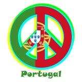 Флаг Португалии как знак пацифизма иллюстрация вектора