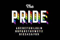 Флаг радуги красит шрифт иллюстрация штока