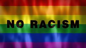 Флаг радуги со словами отсутствие расизма, идеального отснятого видеоматериала для того чтобы сенсибилизировать дискриминационные иллюстрация вектора