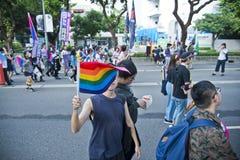 Флаг радуги спрятал сторону в гордости Тайбэя LGBTQIA, Тайвань ` s человека 28-ое октября 2017 Стоковые Фото