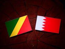Флаг Республики Конго с бахрейнским флагом на пне дерева Стоковая Фотография