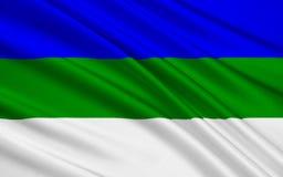 Флаг республики Komi, Российской Федерации иллюстрация вектора