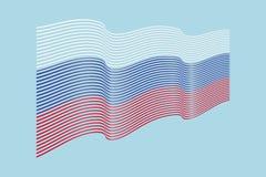 Флаг России на голубой предпосылке Флаг нашивок волны, линия i Стоковое фото RF