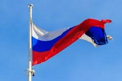 Флаг Российской Федерации на предпосылке голубого неба флаг предпосылки голубой flags развевать вектора России золота рамки Стоковая Фотография