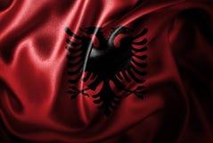 Флаг сатинировки Албании Silk Стоковые Фото