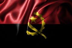 Флаг сатинировки Анголы Silk Стоковые Фото