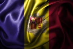 Флаг сатинировки Андорры Silk Стоковые Фото