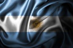 Флаг сатинировки Аргентины Silk Стоковые Фото