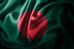 Флаг сатинировки Бангладеша Silk Стоковые Изображения