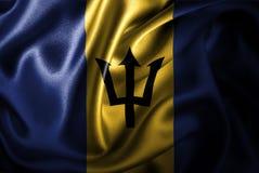 Флаг сатинировки Барбадос Silk Стоковое Изображение RF