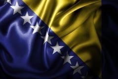 Флаг сатинировки Босния и Герцеговина Silk Стоковое Изображение RF