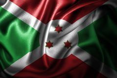 Флаг сатинировки Бурунди Silk Стоковые Фото