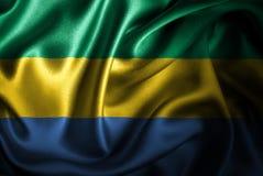 Флаг сатинировки Габона Silk Стоковое Изображение RF