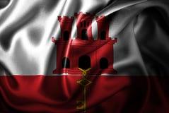 Флаг сатинировки Гибралтара Silk Стоковые Фотографии RF