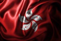 Флаг сатинировки Гонконга Silk Стоковые Изображения