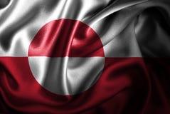Флаг сатинировки Гренландии Silk Стоковая Фотография RF