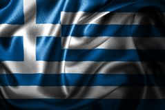 Флаг сатинировки Греции Silk Стоковые Фото
