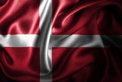 Флаг сатинировки Дании Silk Стоковые Изображения