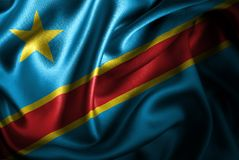 Флаг сатинировки Демократической Республики Конго Silk Стоковые Изображения RF