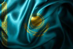 Флаг сатинировки Казахстана Silk Стоковое фото RF