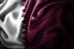 Флаг сатинировки Катара Silk Стоковая Фотография RF