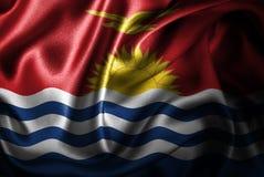 Флаг сатинировки Кирибати Silk Стоковое Фото