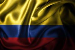 Флаг сатинировки Колумбии Silk Стоковая Фотография