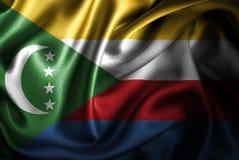 Флаг сатинировки Коморских Островов Silk Стоковая Фотография RF