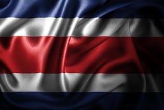 Флаг сатинировки Коста-Рика Silk Стоковая Фотография