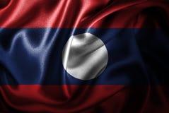 Флаг сатинировки Лаоса Silk Стоковые Фотографии RF