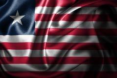Флаг сатинировки Либерии Silk Стоковые Фотографии RF