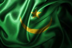 Флаг сатинировки Мавритании Silk Стоковое фото RF