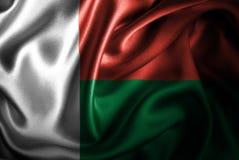 Флаг сатинировки Мадагаскара Silk Стоковое Фото