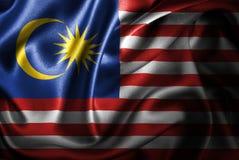 Флаг сатинировки Малайзии Silk Стоковые Фото