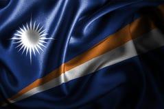 Флаг сатинировки Маршалловых Островов Silk Стоковые Фото
