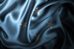 Флаг сатинировки Микронезии Silk Стоковое Изображение