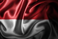Флаг сатинировки Монако Silk Стоковые Изображения