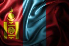 Флаг сатинировки Монголии Silk Стоковая Фотография RF