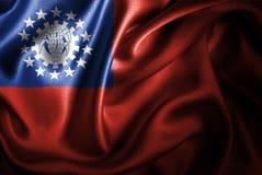 Флаг сатинировки Мьянмы Silk Стоковые Изображения