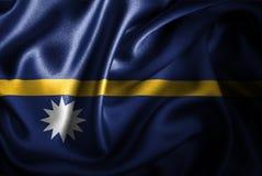 Флаг сатинировки Науру Silk Стоковое Фото
