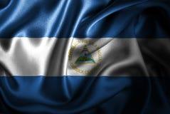 Флаг сатинировки Никарагуа Silk Стоковое Фото