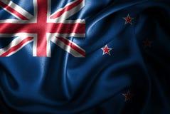 Флаг сатинировки Новой Зеландии Silk Стоковое Фото