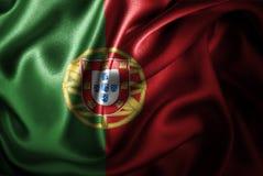 Флаг сатинировки Португалии Silk Стоковые Фотографии RF